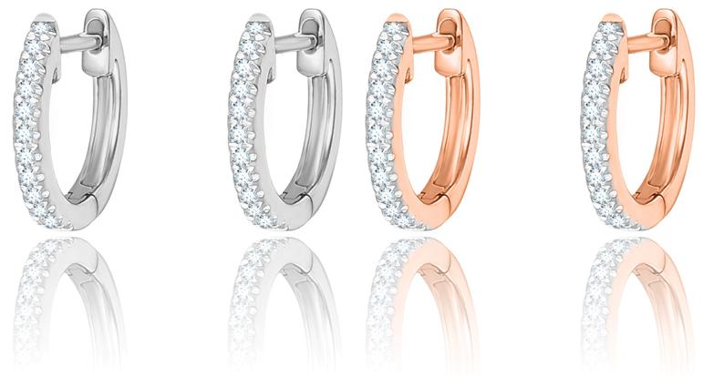 1e09fd240f479f GUÉRIN JOAILLERIE Créoles en or rose et blancs 750 millièmes, serties de  diamants.